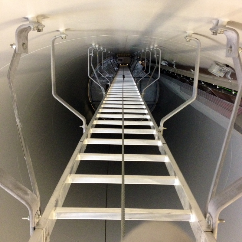 One of the four ladders we climbed to reach 264 feet in the air